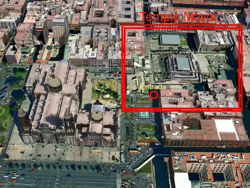 Ubicación actual del Templo Mayor en el centro de México DF. Fuente Google Maps.